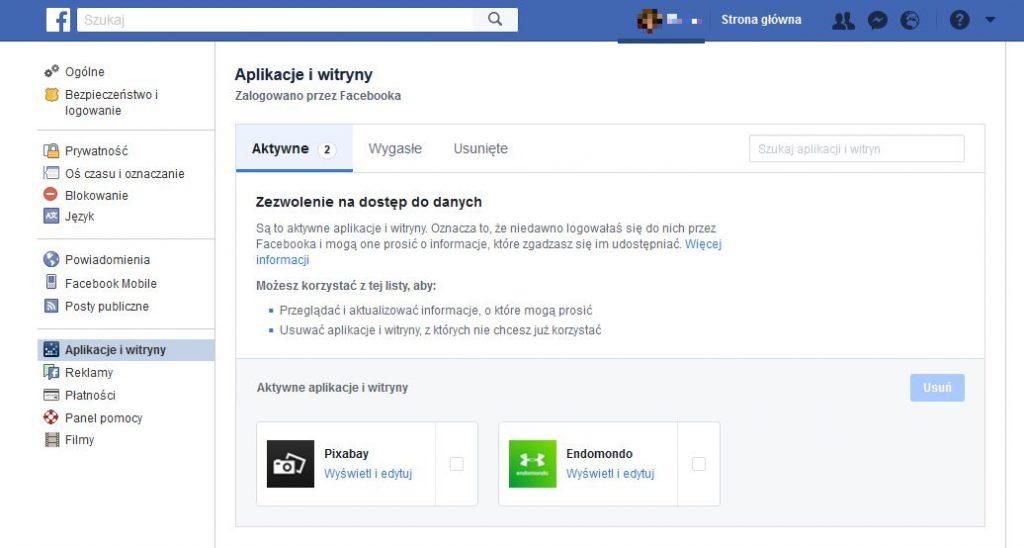 Widok ustawień aplikacje na facebook'u